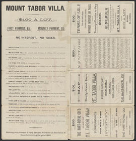 Mount Tabor Villa broadside