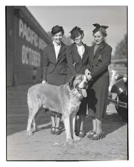 Three women with dog at livestock show