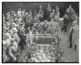 Franklin D. Roosevelt in car at Union Station during campaign visit to Portland
