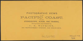 "Verso of, ""Cape Horn, Columbia River."" (Stereograph 1232)"