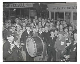 Crowd and Grand Army of the Republic fife and drum corps at Pacific International Livestock Expos...