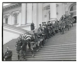 Pallbearers carrying casket of Governor Isaac L. Patterson after funeral at Oregon State Capitol,...