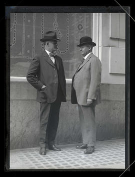 W. J. Babe and F. D. Hobbs, railroad union officials, outside Imperial Hotel, Portland