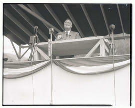 President Franklin D. Roosevelt on speaker's stand at Bonneville dam construction site