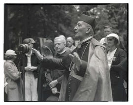 Cardinal Alexis Henri Marie Lépicier giving radio address at The Grotto