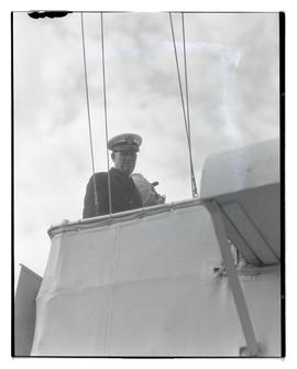 Unidentified U. S. Navy officer aboard ship?