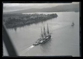 USS Constitution under way on Columbia River off Wauna, Oregon, en route to Portland