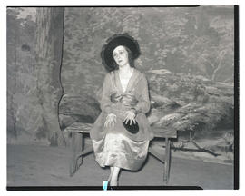 Actress performing scene in Western-themed play