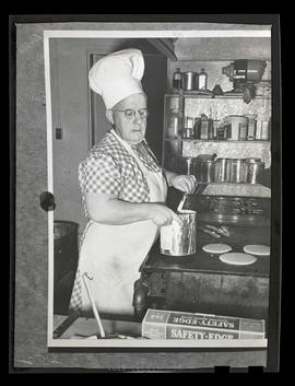 Composite photograph of cook making pancakes and bacon at Albina Engine & Machine Works