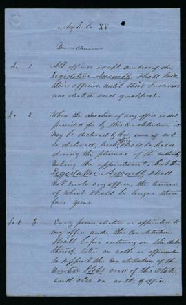 Undated draft of the Oregon State Constitution, Miscellaneous Provisions