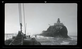 Tillamook Rock Lighthouse and bow of boat