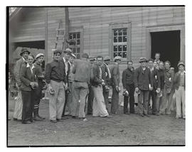 Workers in line at Civilian Conservation Corps camp in Zigzag, Oregon