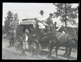 Concord stagecoach carrying President Warren G. Harding and First Lady Florence Harding in Meacha...
