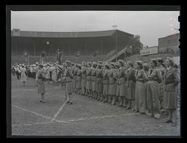 Members of Oregon Women's Ambulance Corps in formation at Multnomah Stadium, Portland