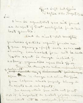 Letter from Joel Palmer to W.W. Raymond
