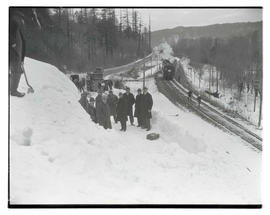Group of men on snow-covered Columbia River Highway