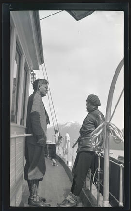 William and Irene Finley on the deck of the MV Westward