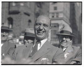 James Roosevelt?, riding in Franklin D. Roosevelt's car during campaign stop in Portland