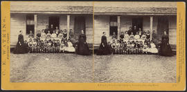 """A Country School at the Garrison, Cascades, Columbia River"" (Stereograph 1335)"