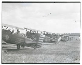U. S. Army Boeing P-12B fighter planes in field