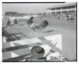 Cowboy being thrown from bronco