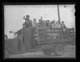 Vanport children on a flat bed truck during a trip to the beach