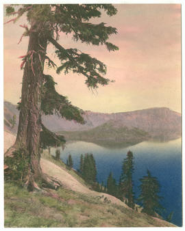 Hand colored photograph of Crater Lake and Wizard Island