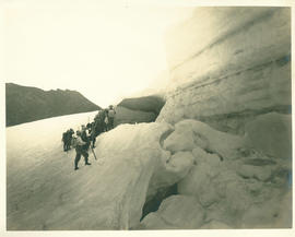 People at ice caves on north side of Middle Sister