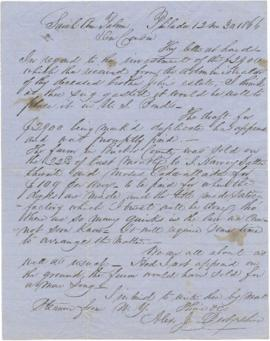 Letter to Sarah Ann Palmer from Alex J. Derbyshire.
