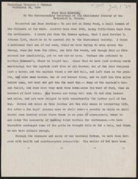 Letter from Jason Lee to the Corresponding Secretary of the Missionary Society of the Methodist E...