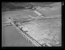 Aerial view of Bonneville Dam during flood on Columbia River