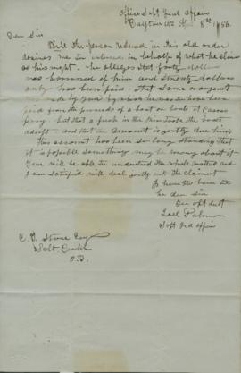 Copy of letter from Joel Palmer to E. G. Stone