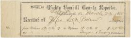 Receipt for a subscription to the Weekly Yamhill County Reporter, to Sarah Ann Palmer