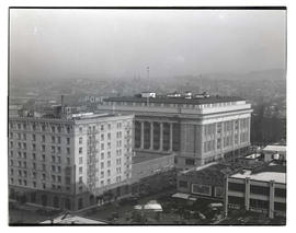 View of Congress Hotel and Multnomah County Courthouse, downtown Portland