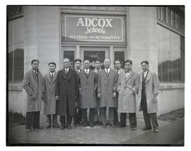 Chinese students and diplomat at Adcox aviation school, Portland