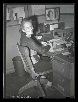 Employee at desk, Albina Engine & Machine Works, Portland