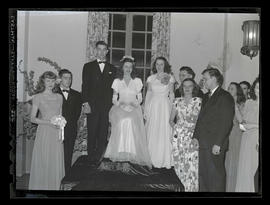Miss Marylhurst Muryel Zoellern and attendants at Marylhurst College senior ball, 1945