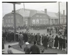Soldiers marching past Memorial Building in Vancouver, Washington