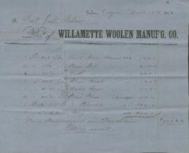Duplicate invoice from Willamette Woolen Manufacturing Co.