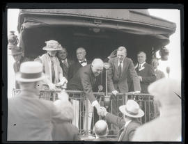 President Warren G. Harding and First Lady Florence Harding greet spectators in Meacham, Oregon