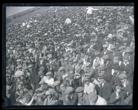 Crowd in stands at baseball game, Vaughn Street Park