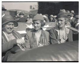 Nan Wood Honeyman, Betsey Cushing Roosevelt, and Anna Roosevelt Dall riding in Franklin D. Roosev...