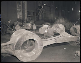 Welding a stern frame casting at Columbia Steel Casting Company