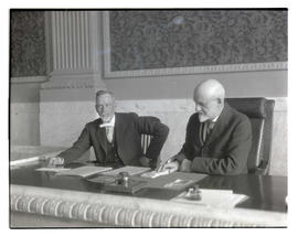 Judges C. H. McCulloch and Robert G. Morrow at Multnomah County Courthouse, Portland