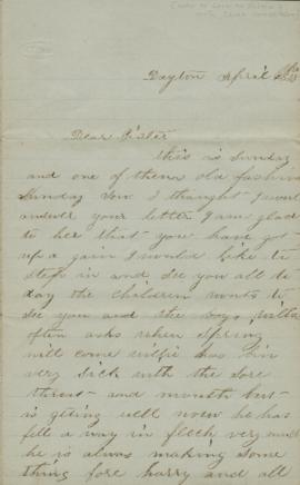 Letter to Sarah Jacobs Palmer