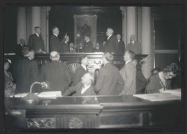 Julius L. Meier being sworn in as governor of Oregon
