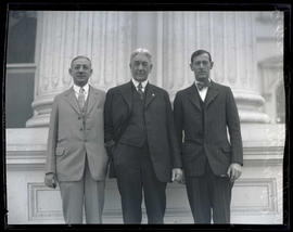Senate President A. W. Norblad, Governor Isaac Patterson, and House Speaker Ralph Hamilton