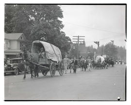 Covered wagon in parade