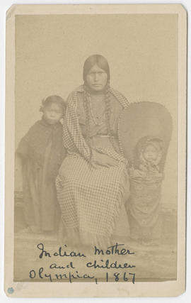 Unidentified woman, child, and baby