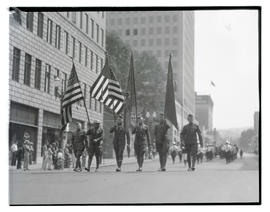 Military color guard marching in parade